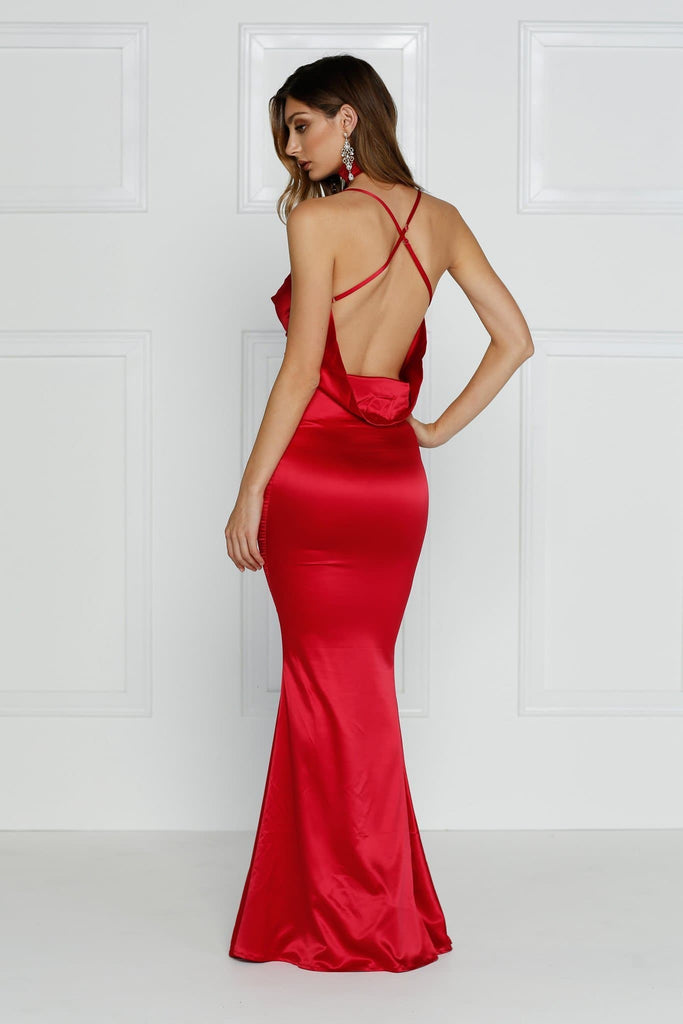 Satin Cherry Red Gown with cowl neckline, low back and mermaid silhouette
