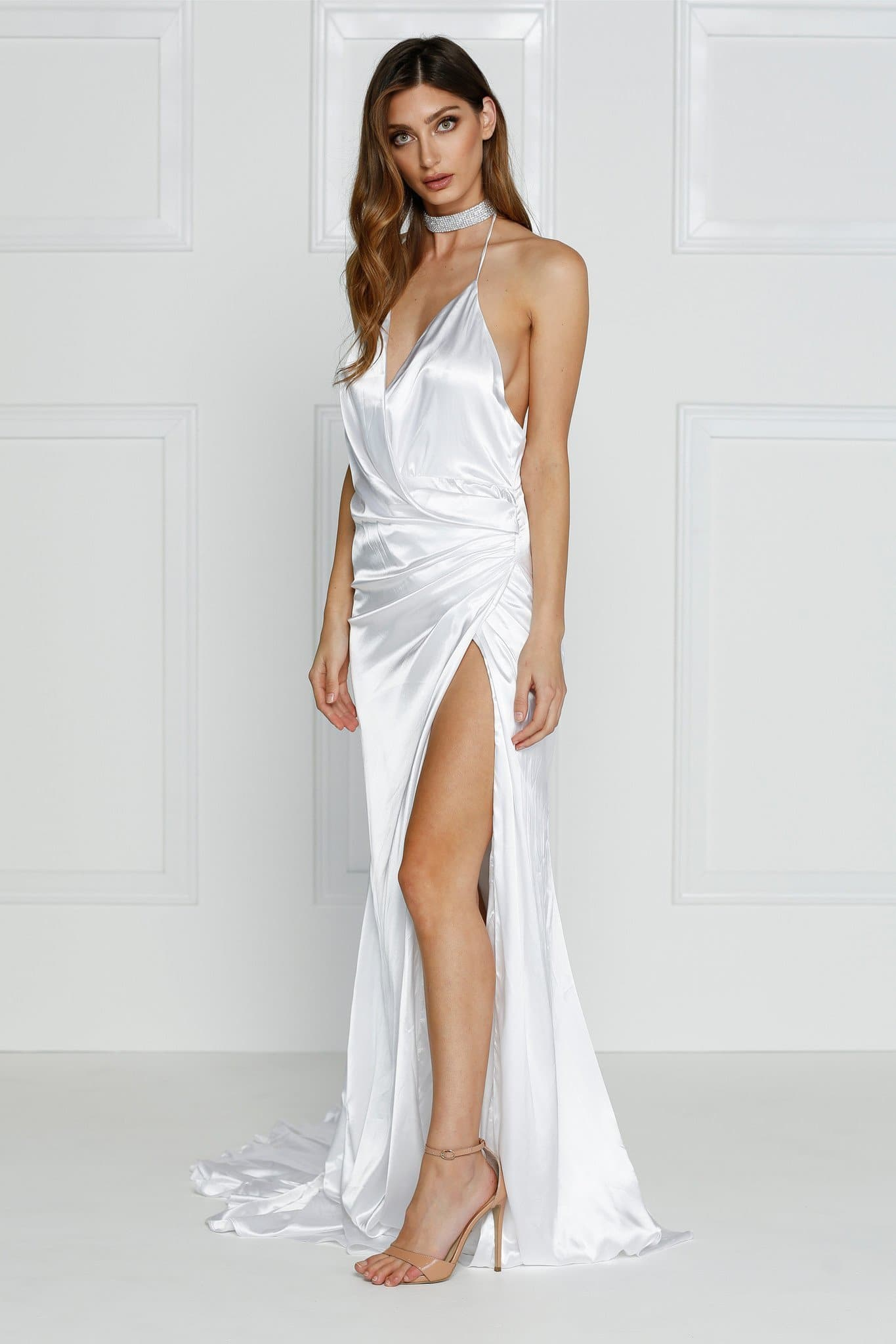 Guinevere - White Backless Satin Gown with Side Slit & Ruched Detail ...