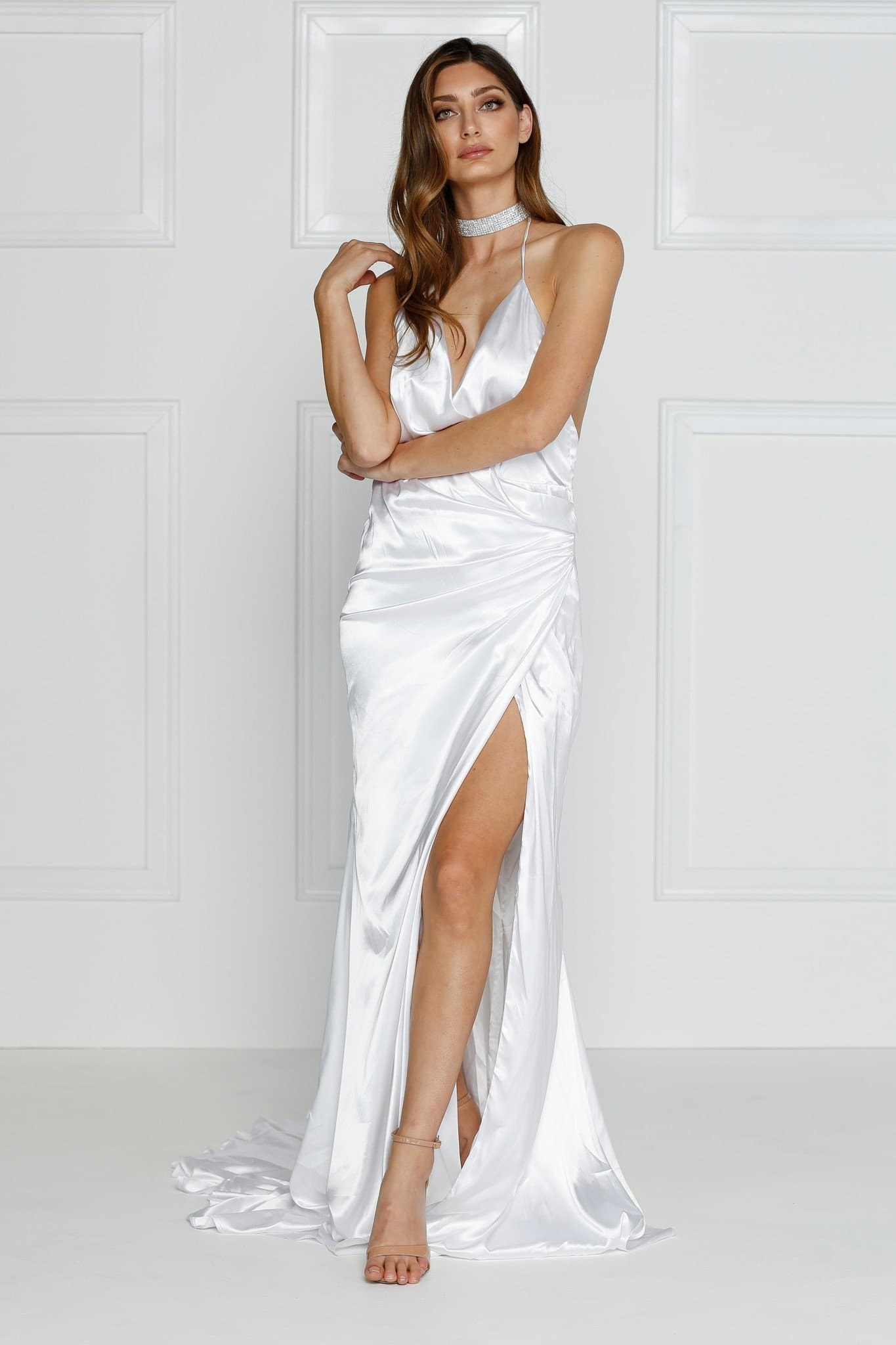 Guinevere - White Backless Satin Gown with Side Slit & Ruched Detail
