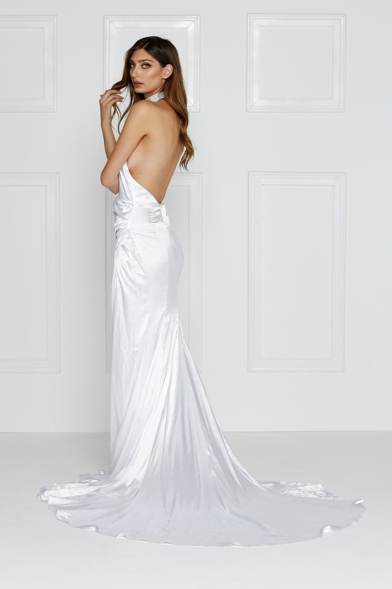 Guinevere Luxe Satin Gown - White – A&N Boutique