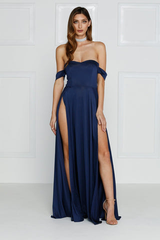 Aravinda - Navy Jersey Gown with Off Shoulder Drapes & Front Slit