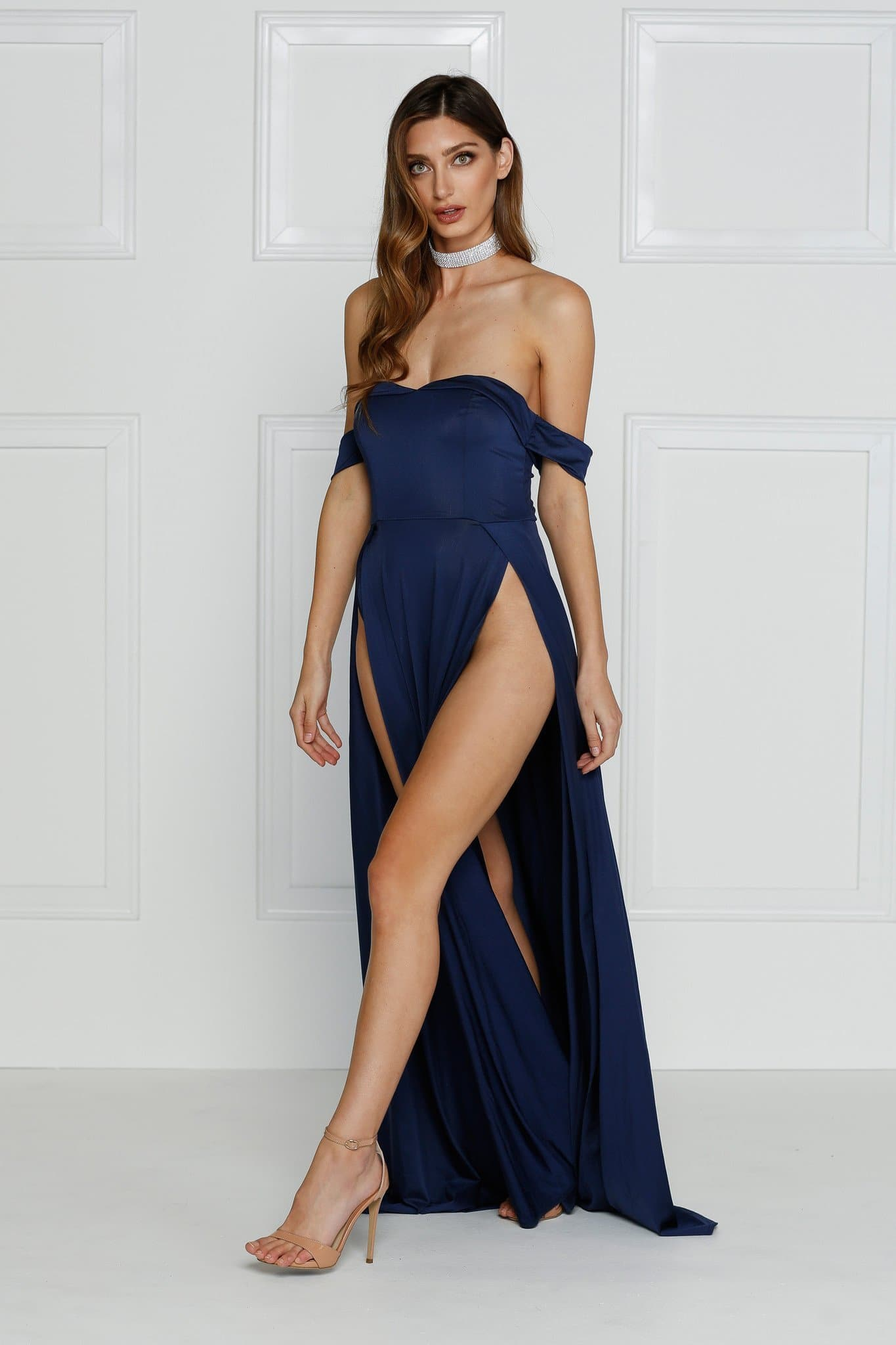 Aravinda Formal Gown - Navy Jersey Off Shoulder Drapes Splits Dress