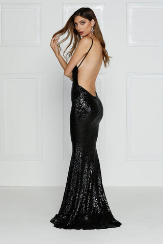Yassmine - Black Sequin Backless Gown with Plunge Neckline