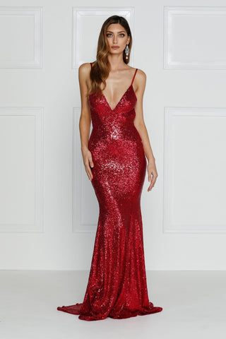 Yassmine - Wine Red Backless Sequin Gown with Mermaid Train