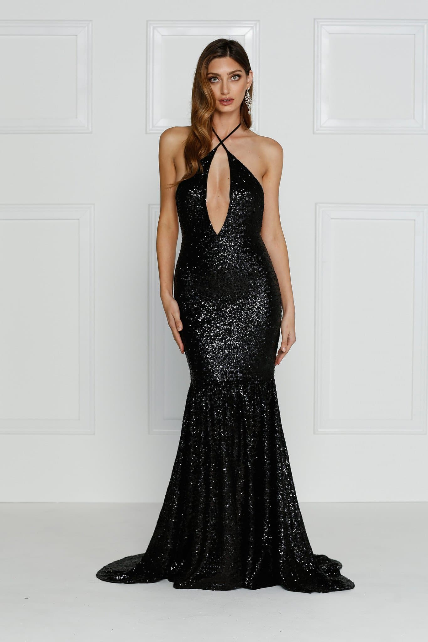 Bolivia - Black Sequin Gown with Open Back and Plunging Neckline