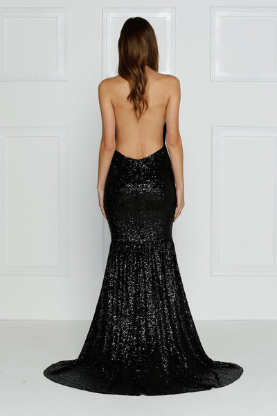 Bolivia Formal Gown - Black Sequin Criss Cross Open Back Mermaid Dress