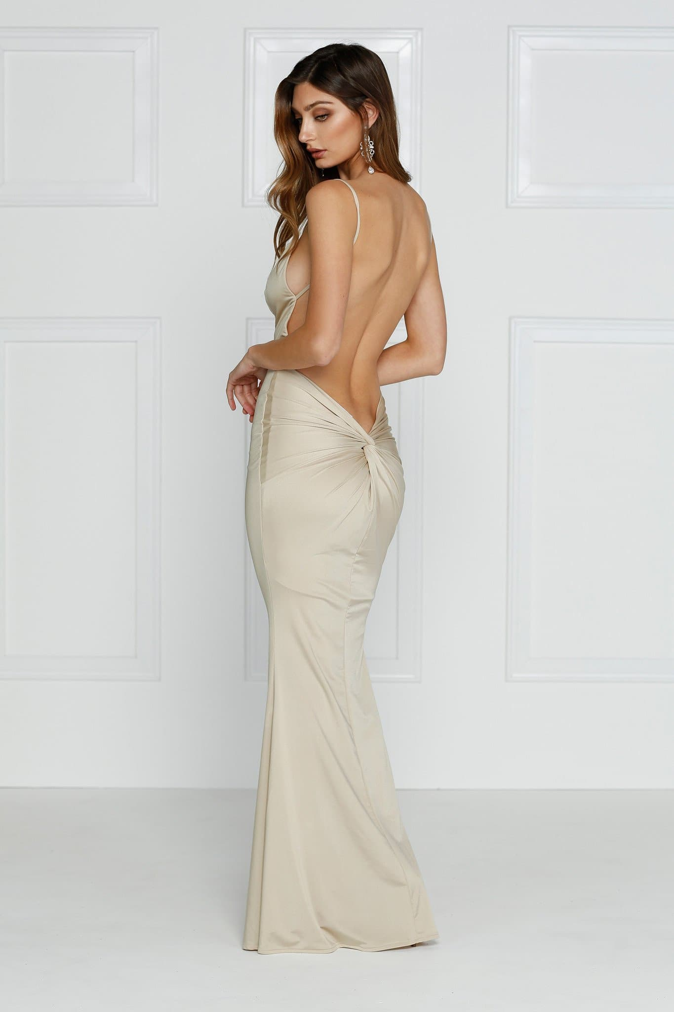 Penelope Luxe - Champagne Jersey Gown with Plunge Neckline & Low Back