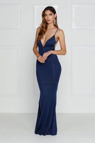 Penelope Luxe - Navy Jersey Gown with Low Back & Plunge Neckline