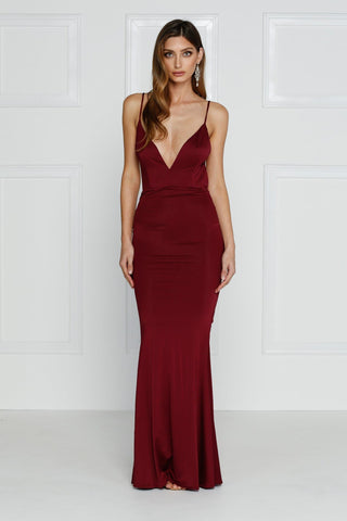 Penelope Luxe - Burgundy Jersey Gown with Low Back & Plunge Neckline