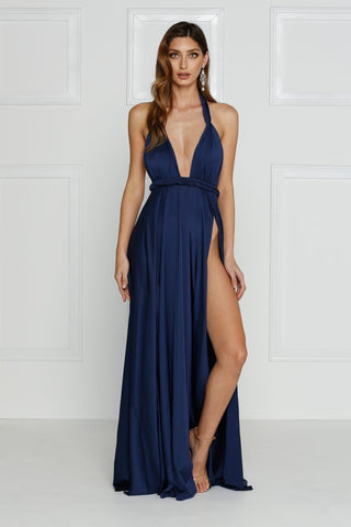 Grecian style navy maxi made from stretchy jersey with two thigh high splits, adjustable top, low back and full length