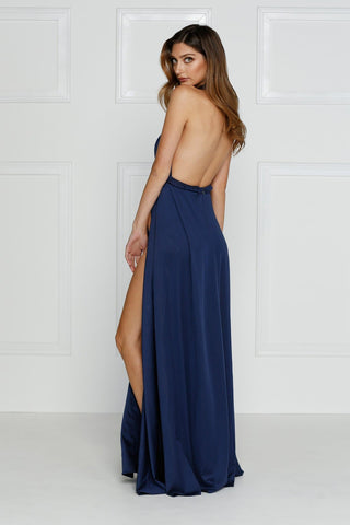 Catalina - Navy Grecian Style Jersey Gown with Slits and Low Back
