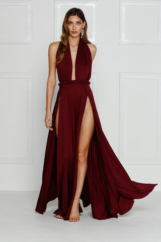 Grecian style burgundy maxi made from stretchy jersey with two thigh high splits, adjustable top, low back and full length