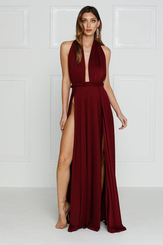 Catalina - Burgundy Grecian Style Jersey Gown with Low Back