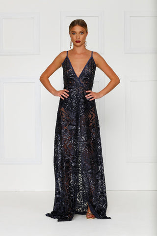 Rosella - Navy Sheer Sequin Gown with Plunge Neckline
