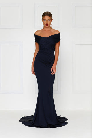 Campanule - Navy Jersey Gown with Off Shoulder Ruched Detailing