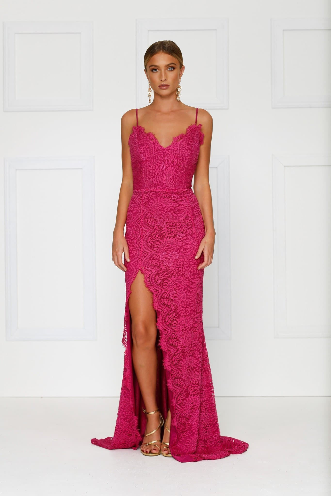 Layali - Hot Pink Lace Gown with Side Slit, V Neck and Low Back