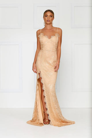 Layali - Nude Lace Gown with Side Slit, V Neck and Low Back