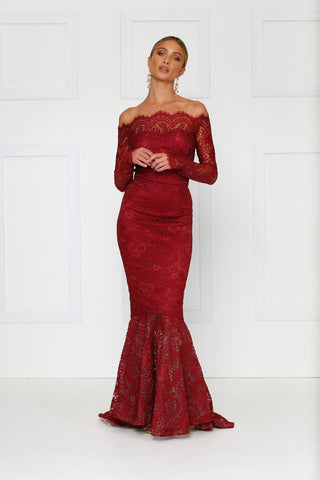 Kamali - Burgundy Lace Gown with Off-Shoulder Sleeves & Mermaid Train