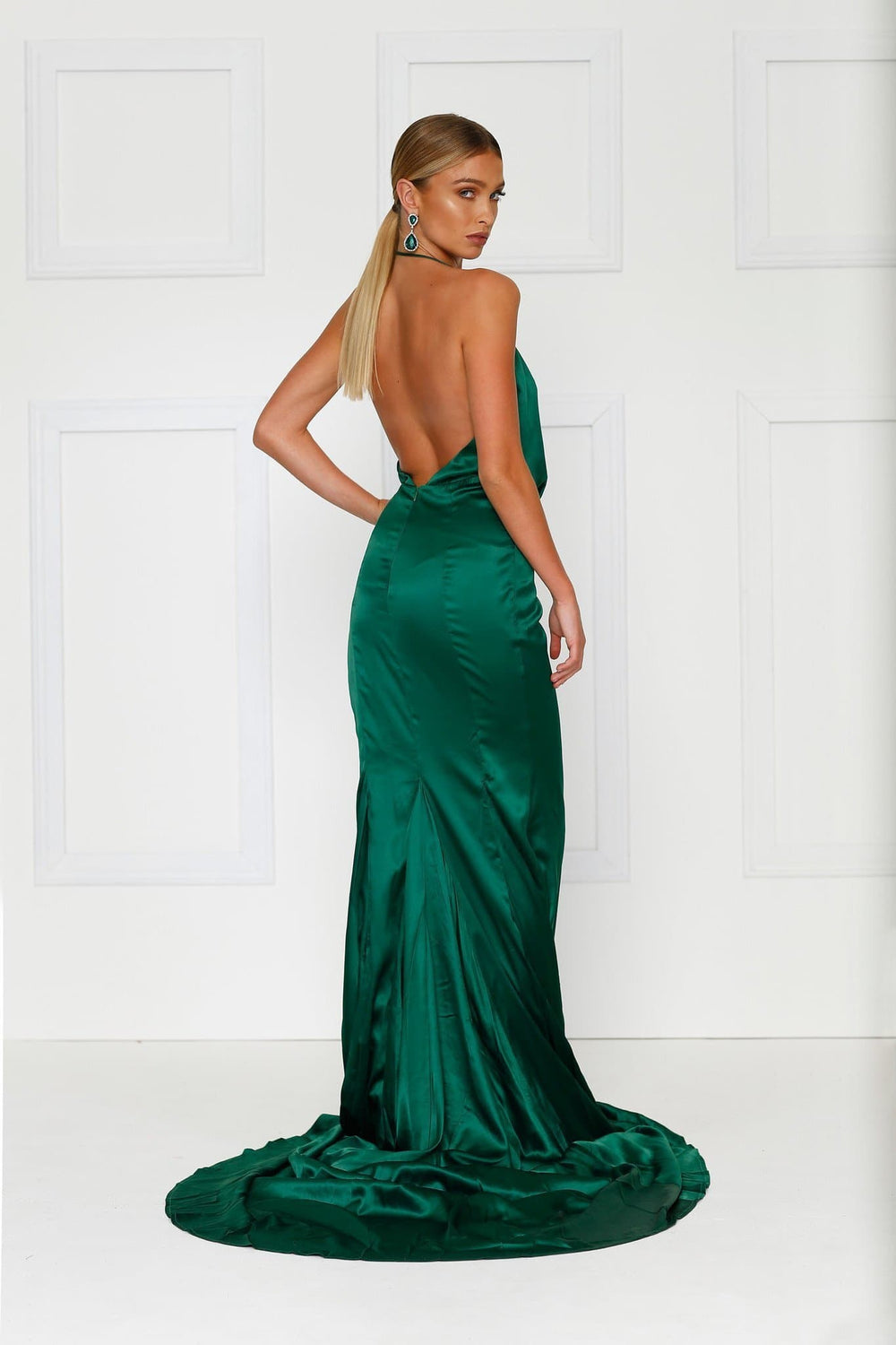 Guinevere - Emerald Satin Gown with Plunging Neckline & Front Slit