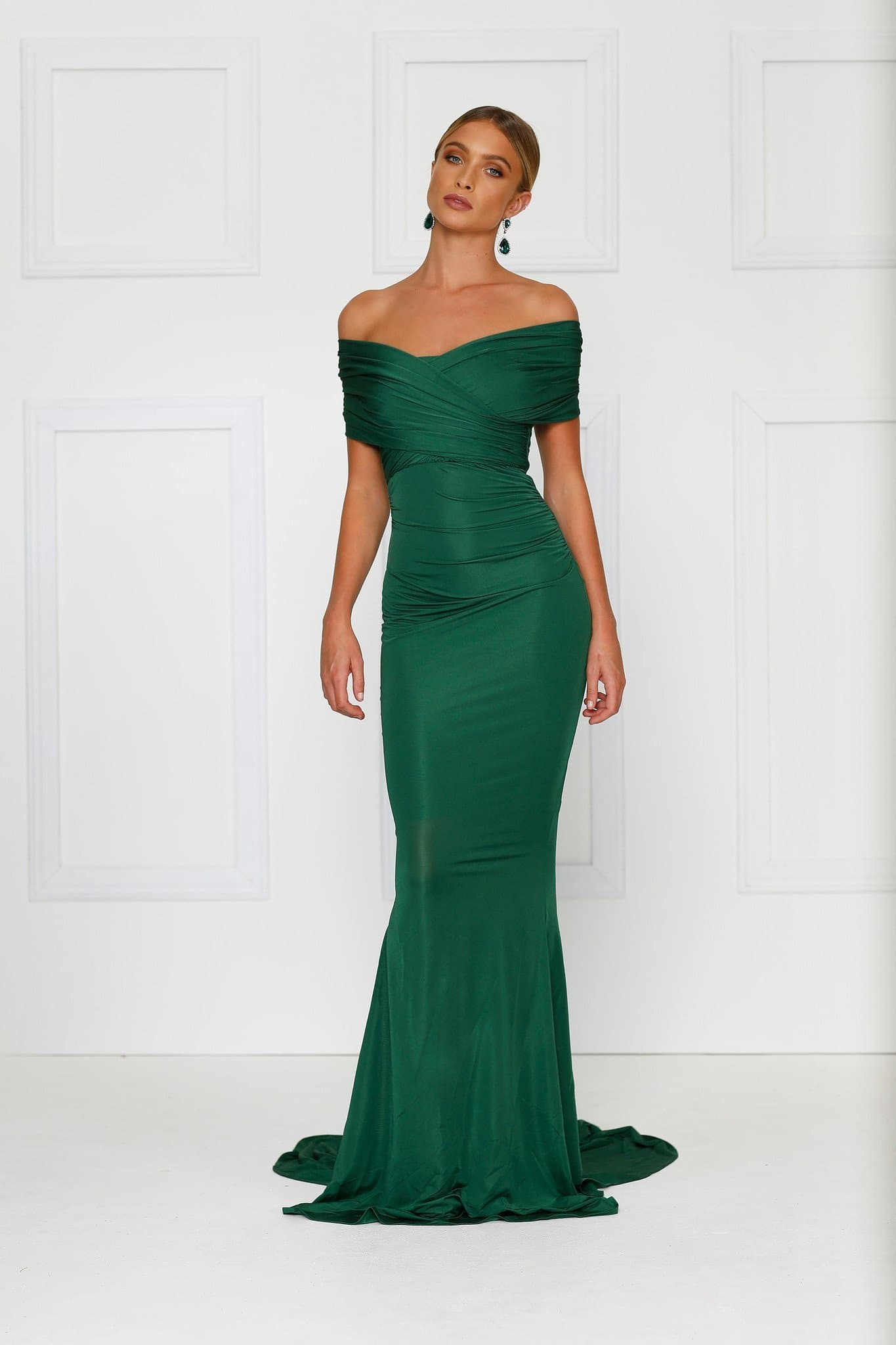 Campanule - Emerald Jersey Gown with Ruched Off Shoulder Detailing ...