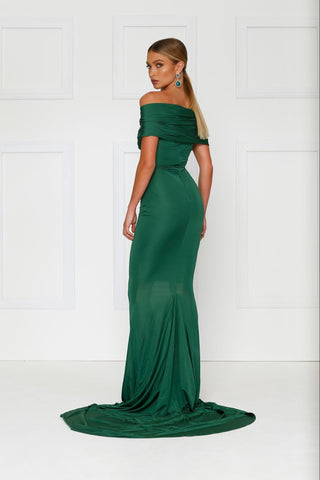 Campanule - Emerald Jersey Gown with Ruched Off Shoulder Detailing