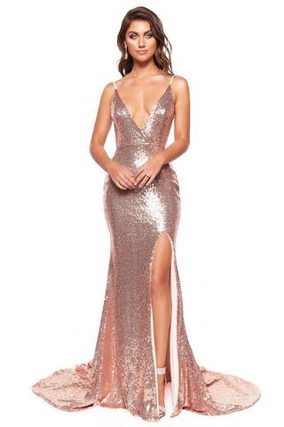 In Stock - Hailey Sequin Gown - Rose Gold