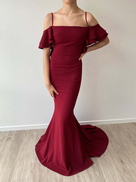 Andriana Sequin Gown - Wine Red