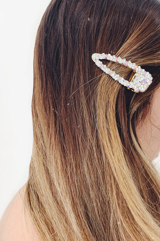 Iridescent Crystal Stone Gold Small Hair Clip