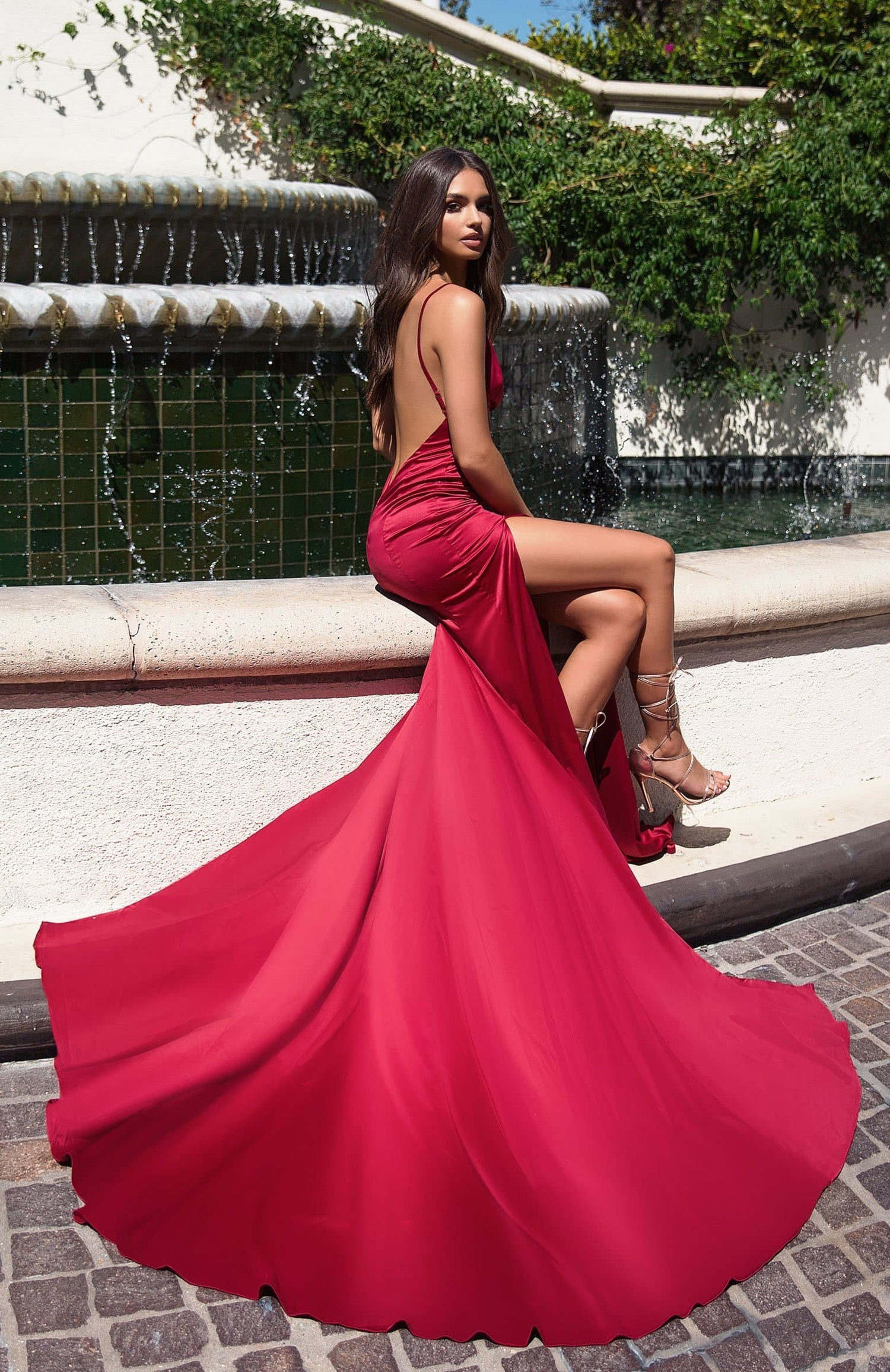Izabelle - Deep Red Satin Backless Gown with Plunge V-Neckline