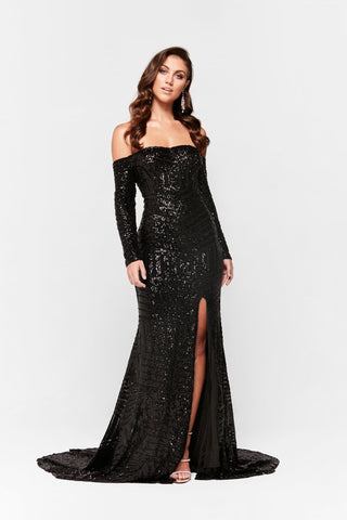 A&N Jade - Black Sequin Gown with Long Off Shoulder Sleeves & Side Slit