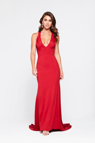 A&N Joanna- Deep Red Jersey Dress with V Neck and Criss Cross Back