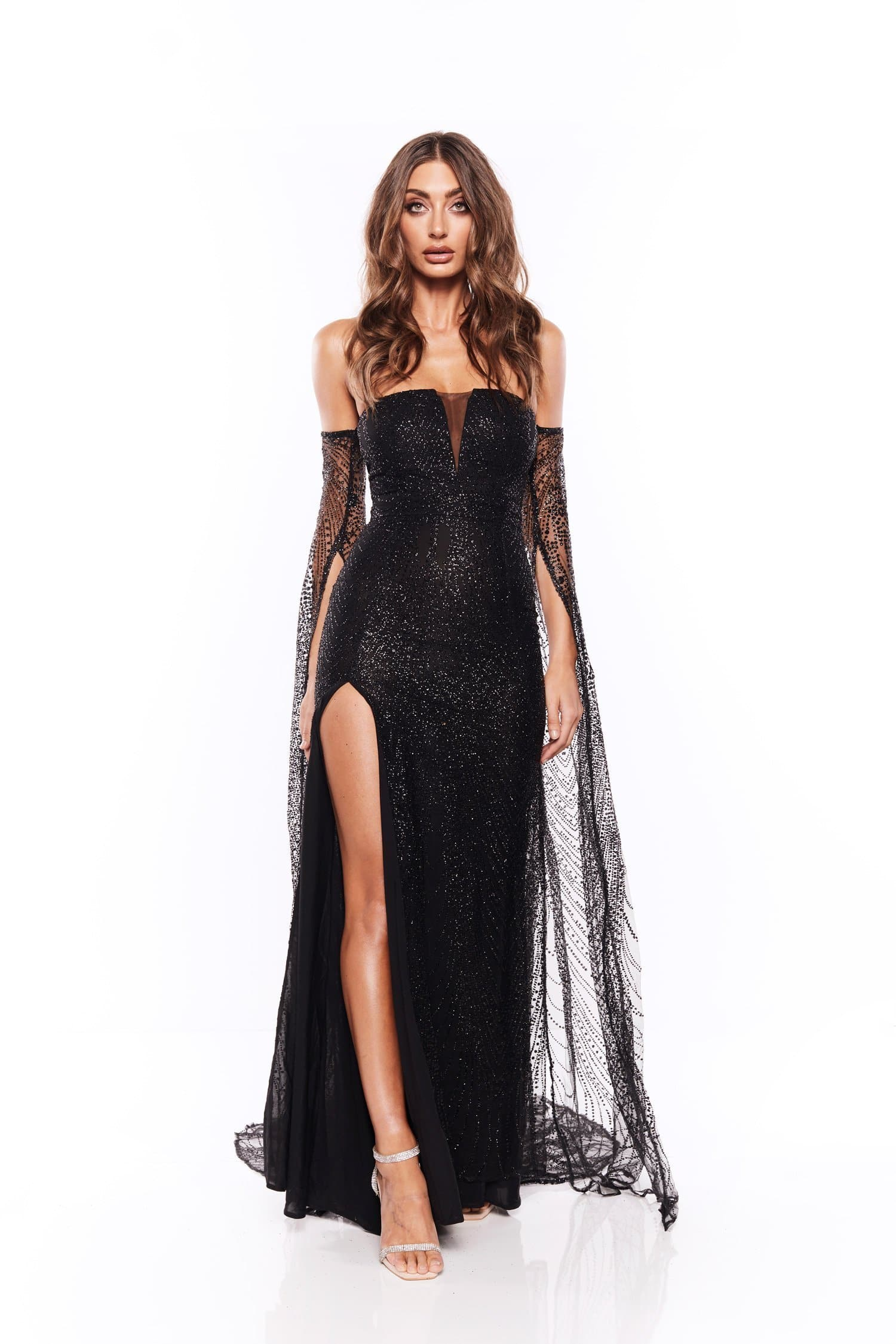 fa639d6d57e ... Jocelina - Black Glitter Gown with Long Sheer Sleeves and Side Slit ...