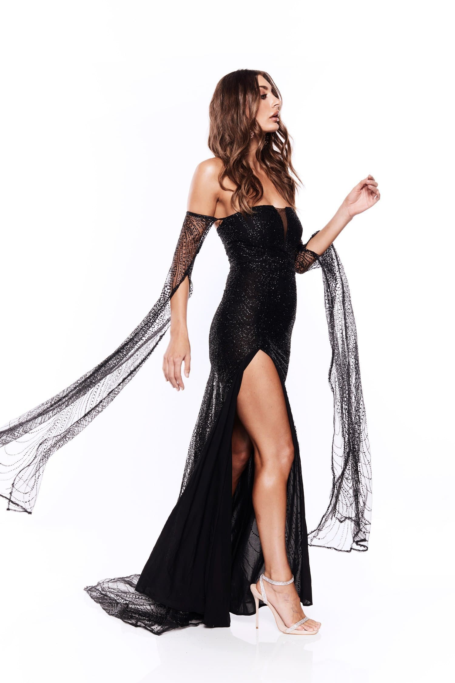 Jocelina - Black Glitter Gown with Long Sheer Sleeves and Side Slit