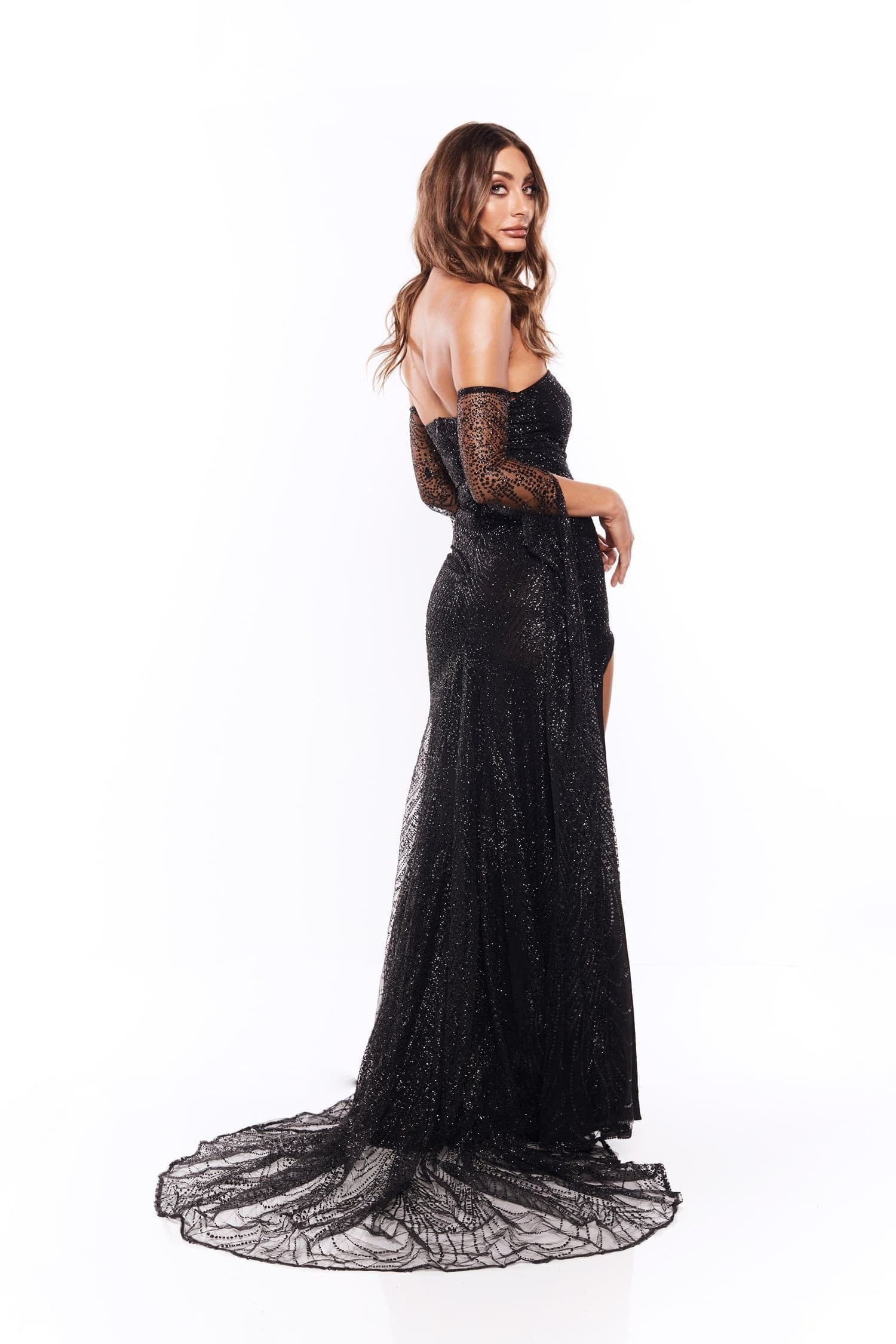 fd55a24b0a8 ... Jocelina - Black Glitter Gown with Long Sheer Sleeves and Side Slit