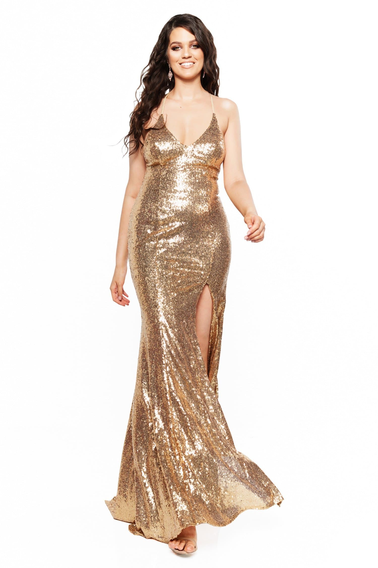 A&N Curve - Gold Kara Sequinned Gown with Slit and Tie-Up Back