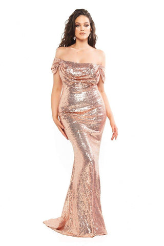 In stock - Curve Kelsey Sequin Gown - Rose Gold
