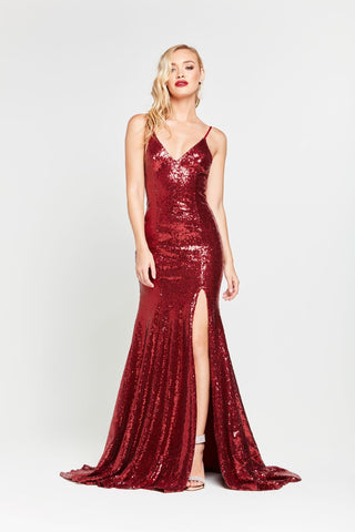 A&N Kara- Deep Red Sequinned Dress with V-Neck and Side Slit
