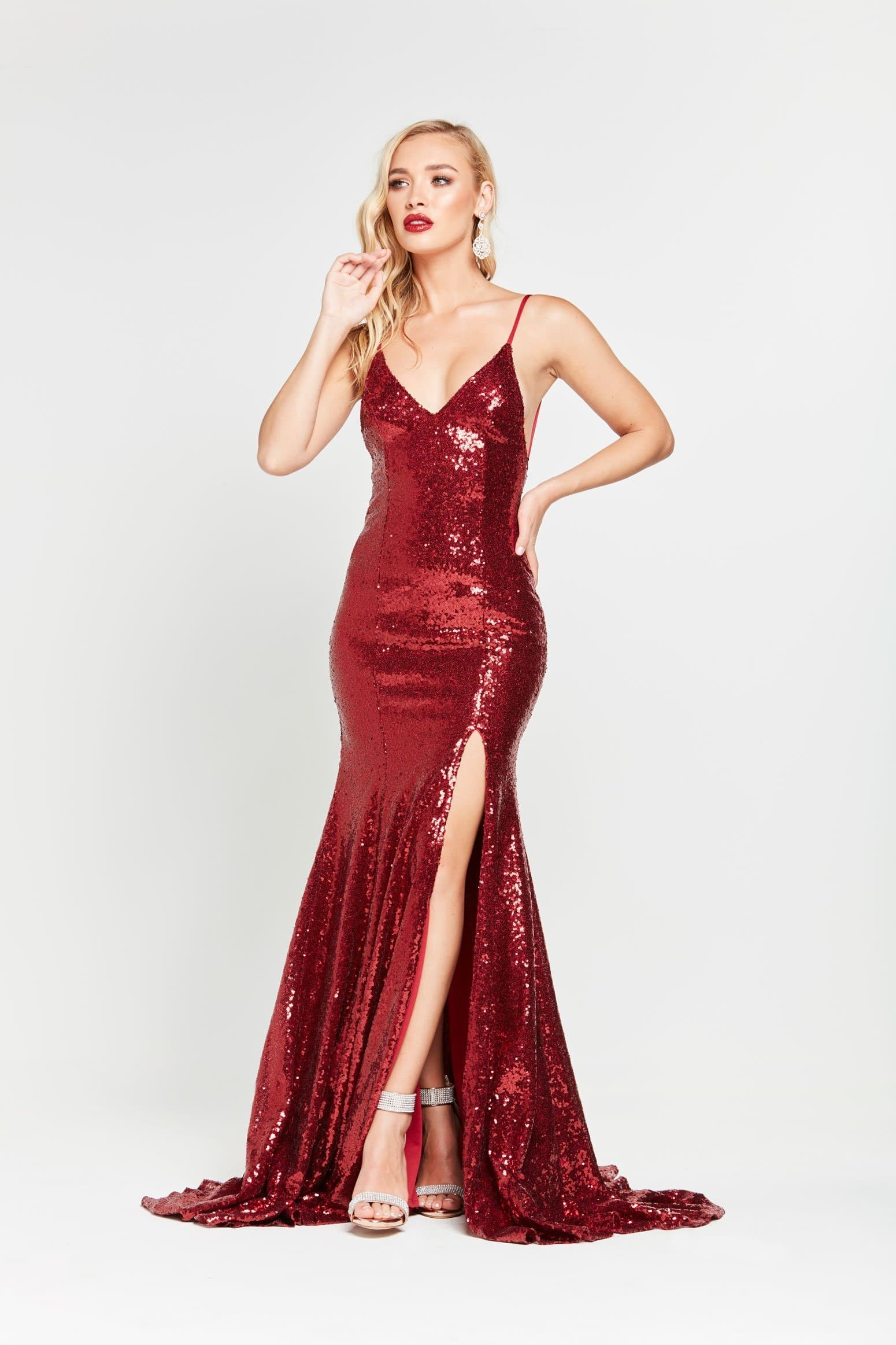 Kara Formal Dress - Deep Red Slit Sequinned Mermaid Prom Gown