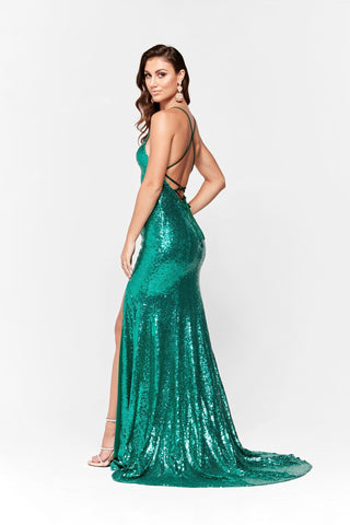A&N Kara- Emerald Formal Dress with Lace Up Back and Side Slit