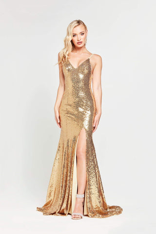 A&N Kara - Gold Sequinned Mermaid Gown with Slit and Lace up Back
