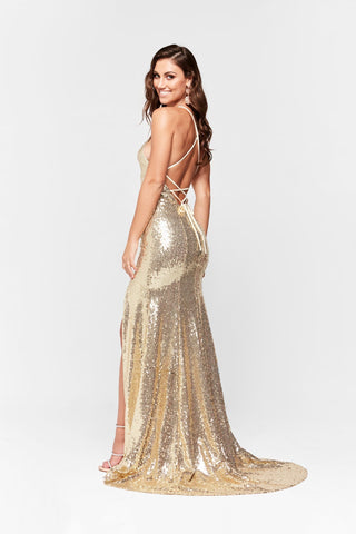 A&N Kara- Gold Sequinned Dress with Slit and Lace Up Back
