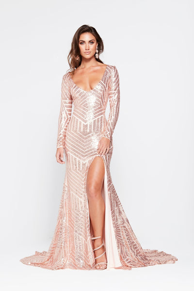 e5c539bf96b1a A&N Kaya- Rose Gold Sequin Dress with Long Sleeve and Side Slit – A&N Luxe  Label