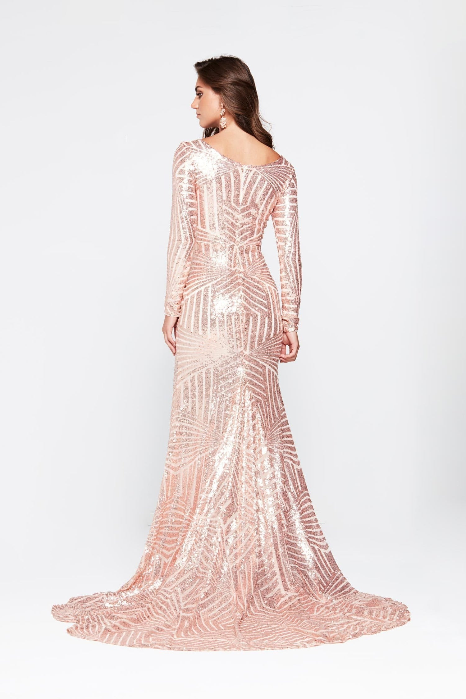 b2999c96c4eb ... A&N Kaya- Rose Gold Sequin Dress with Long Sleeve and Side Slit
