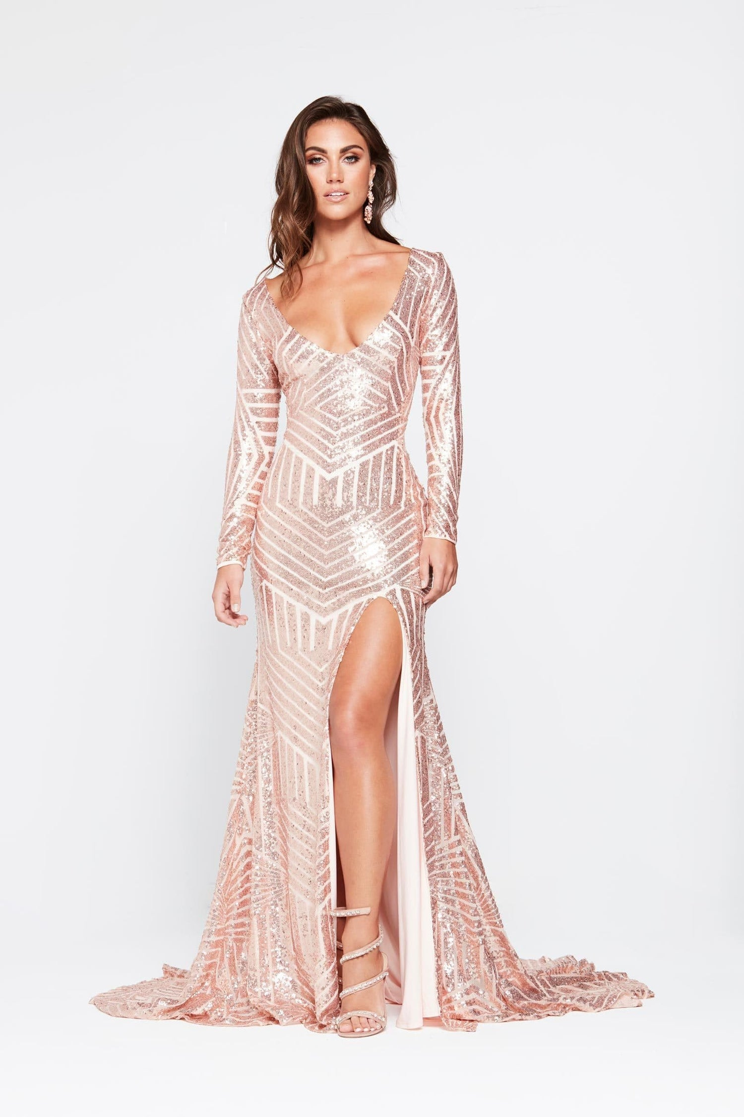e579be3d255c ... A&N Kaya- Rose Gold Sequin Dress with Long Sleeve and Side Slit ...