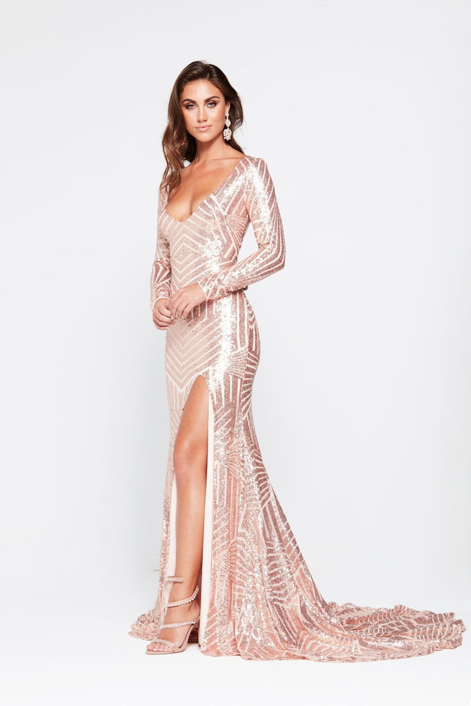 Kaya Formal Dress - Rose Gold Sequins Long Sleeve Maxi Gown Side ...
