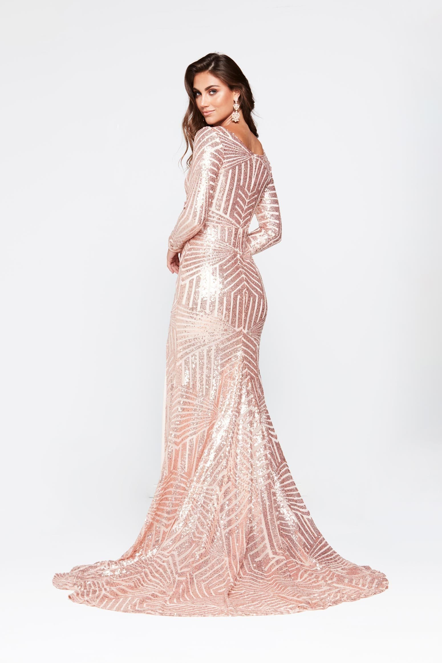 A&N Kaya- Rose Gold Sequin Dress with Long Sleeve and Side Slit