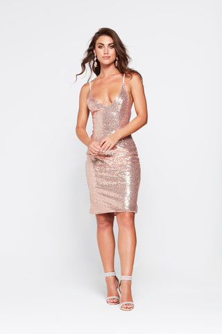 A&N Kendall- Rose Gold Sequinned Cocktail Dress with Criss Cross Back