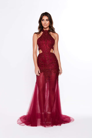 A&N Ximena - Burgundy Beaded Gown with Side Cut Outs and Halter Neck
