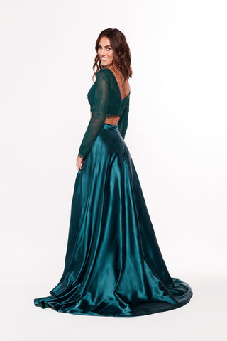 A&N Katerina - Teal Two Piece Gown with Long Sleeves and Side Slit