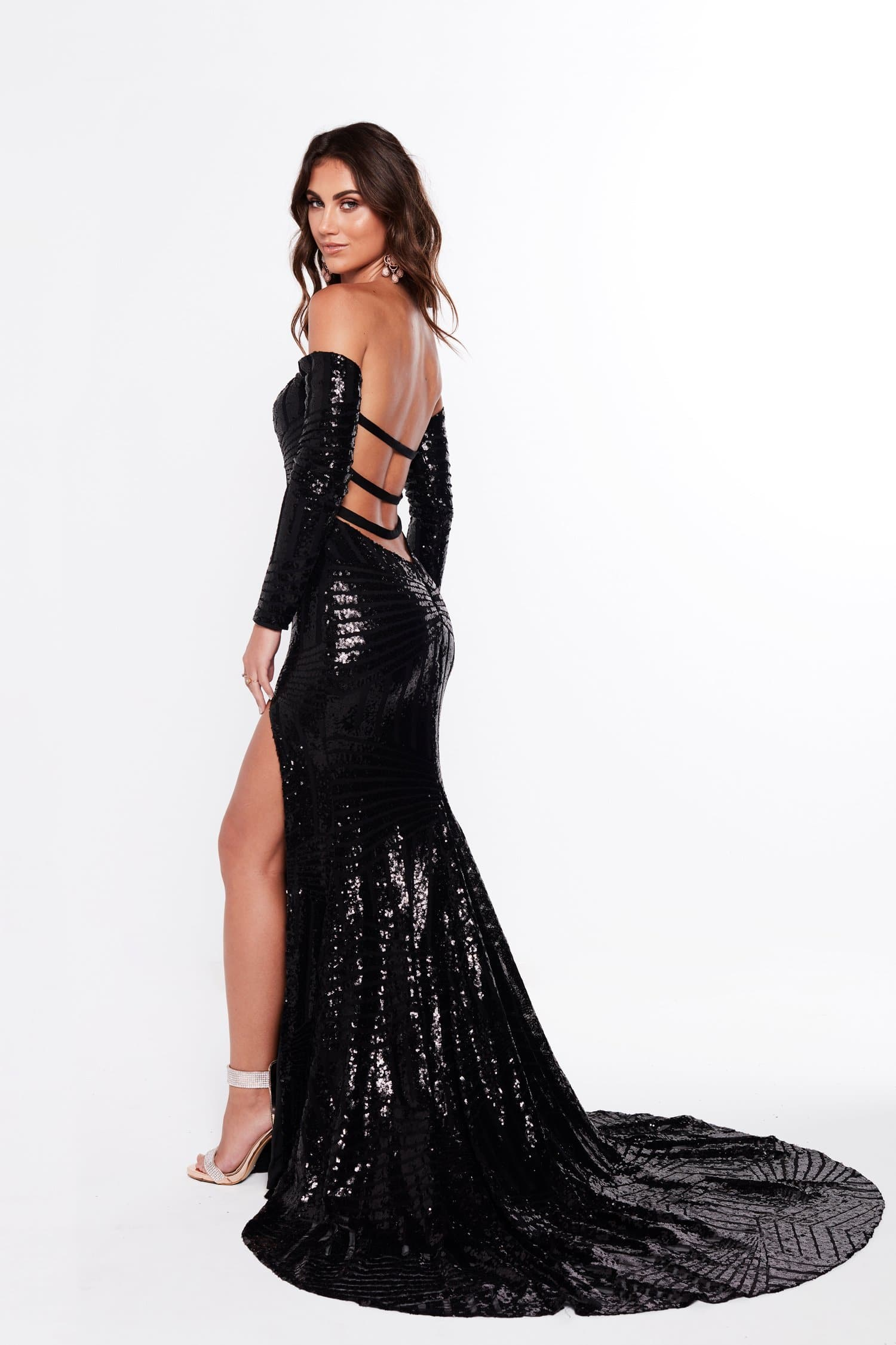 b64d31f6d44 A&N Regina - Black Sequin Gown with Off-Shoulder Long Sleeves – A&N ...